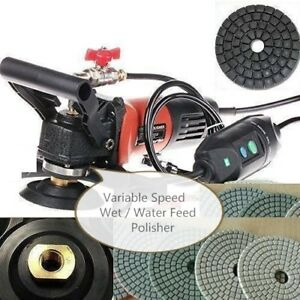 4 Variable Speed Concrete Wet Polisher Diamond Pad Buff Granite Terrazzo Repair