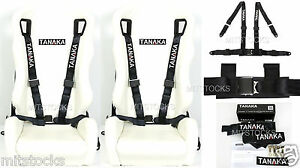 2x Tanaka Universal Black 4 Point Ez Release Buckle Racing Seat Belt Harness New
