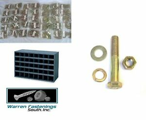 Grade 8 Fine Thread Bolt Nut Washer Assortment Kit 1495 Pc Sae w 40 Hole Bin
