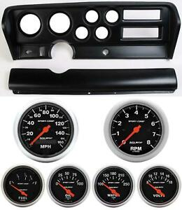 70 72 Gto Black Dash Carrier W Auto Meter Sport Comp Electric Gauges