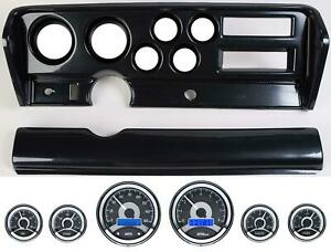 70 72 Gto Carbon Dash Carrier Panel W Dakota Digital Vhx Universal 6 Gauge
