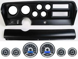 70 72 Gto Black Dash Carrier Panel W Dakota Digital Vhx Universal 6 Gauge