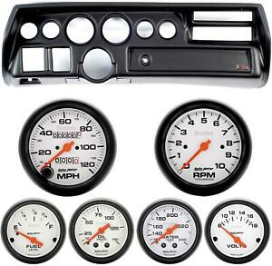 70 72 Chevelle Sweep Black Dash Carrier W Auto Meter Phantom Mechanical Gauges