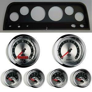 65 66 Chevy Truck Black Dash Carrier W Auto Meter American Muscle Gauges