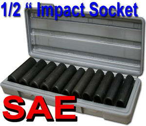 12pcs 1 2 Deep Impact Socket Set Sae Mould Case 3 8 7 16 1 2 9 16 5 8