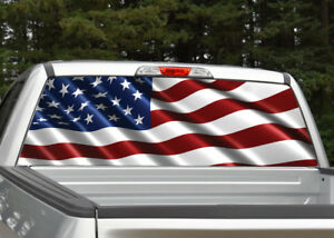 American Flag Waving 7 Patriotic Rear Window Decal Graphic For Truck Suv