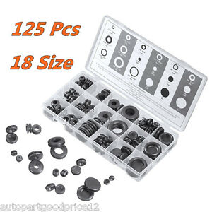 125 Pcs Rubber Grommet Firewall Hole Plug Electrical Wire Gasket Assortment Kit