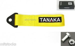 1 Tanaka Universal Yellow Racing Sports Tow Strap Tow Hook 8000 Lbs New