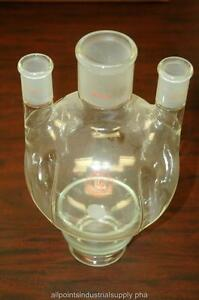 Lab Glass 2000 Ml Round Bottom Morton Type 3 neck Flask Lg 7650 120 Nos