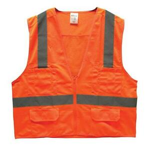 25 High Visibility Class 2 Surveyor s Safety Vest W pockets Meets Ansi Orange