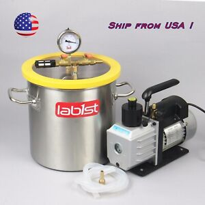 5 Gallon Vacuum Degassing Chamber And Two Stage 7cfm Vacuum Pump Kit