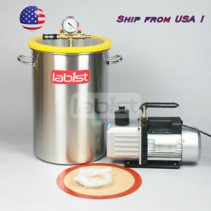8 4gallon Stainless Steel Vacuum Degassing Chamber And 2 Stage 7cfm Vacuum Pump