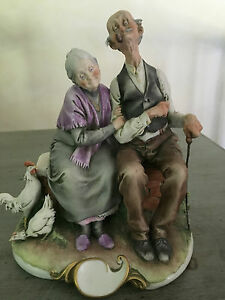 Giuseppe Cappe Figurine From Italy No 99010 Happy Old Couple Capodimonte 1959