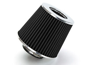 2 5 Inlet Short Ram Cold Air Intake Filter Round Cone Universal Black For Eagle