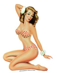 sexy vintage nostalgic pinup Girl Red Polka Dot bikini sticker decal