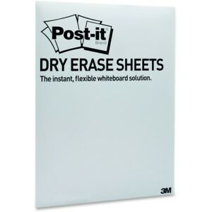 Post it Super Sticky Self stick Dry Erase Sheets 11 In X 15 37 In White