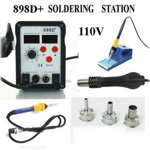 898d 2 in 1 Electric Smd Desolder Soldering Station Hot Air Gun W 11 Tips