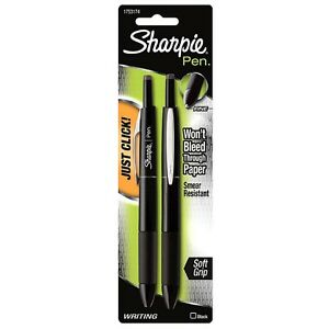 Sharpie Pen Retractable Fine Point Pens Black 2 Ea pack Of 9