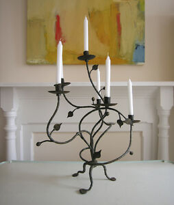 Antique Candelabra Hand Forged Wrought Iron 6 Candle