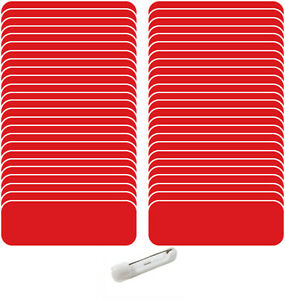 50 Blank 1 X 3 Red White Name Badge Kit a Tags 1 4 Corners Pins Labels