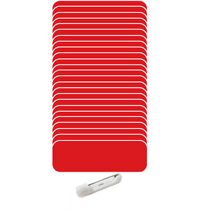 25 Blank 1 X 3 Red White Name Badges Kit a Tags 1 4 Corners Pins Labels