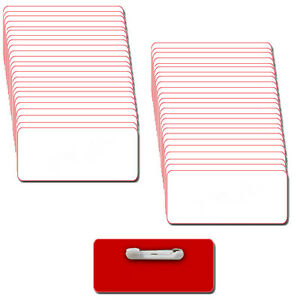 50 Blank 1 1 2x3 White Red Name Badge Kit a Tags 1 8 Corners Pins Labels