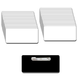 50 Blank 1 1 2 X 3 White black Name Badge Kit a Tags 1 8 Corners Pins Labels