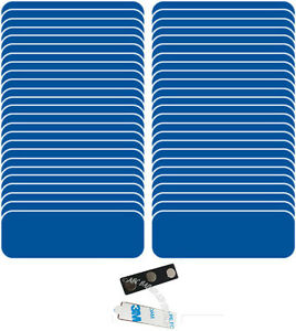 100 Blank 1 X 3 Blue White Name Badge Kit a Tags 1 4 Corners Magnets Labels