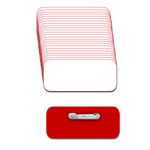 White red Blank Name Badge Kit a 25 Tags Labels Pins 1 4 Corners 1 1 2 X 3