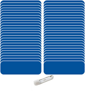 50 Blank 1 X 3 Blue White Name Badge Kit a 1 4 Corners Pins Clear Labels