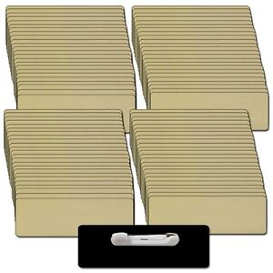 100 Blank 1 X 3 Gold Name Badge Kit a Tags 1 8 Corners Pins Clear Labels