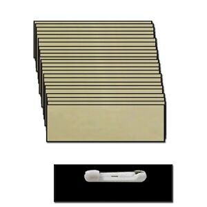 25 Blank 1 X 3 Gold Name Badge Kit a Tags Beveled Safety Pins Clear Labels