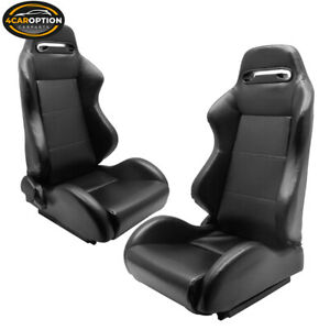 Fits Universal Black Pvc Leather Full Reclinable Racing Seats Pair Sliders