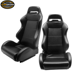 Fits Black Pvc Leather Full Reclinable Racing Seats Pair Slider Universal Fit