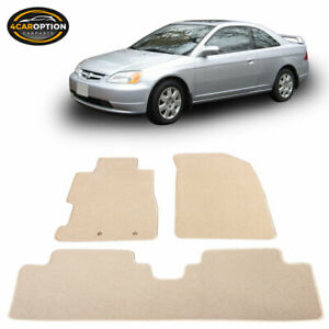 Fits 01 05 Honda Civic 02 05 Civic Si Floor Mats Front Rear Beige 3pc Nylon