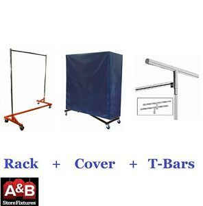 Z Racks Nylon Cover Orange Rack Single Bar Rolling Clothing Garment Clothes