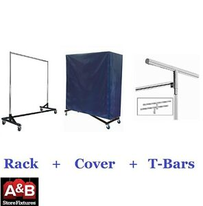 Z Racks Nylon Cover Black Rack Single Bar Rolling Clothing Garment Clothes