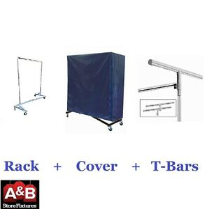 Z Racks Nylon Cover Chrome Rack Single Bar Rolling Clothing Garment Clothes