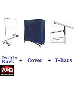 Z Racks Nylon Cover Chrome Rack Double Bar Rolling Clothing Garment Clothes