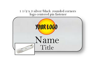 100 Silver Logo Centered Name Badge Tag 2 Lines Of Imprint Pin Fastener