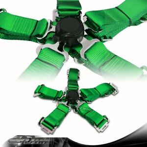 1x Green Heavy Duty 5 Point Camlock Safety Harness Racing Seat Belt Universal 6