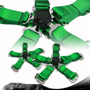 2pcs Jdm Green 5 Point Camlock Safety Harness Sport Racing Seat Belt Universal 6