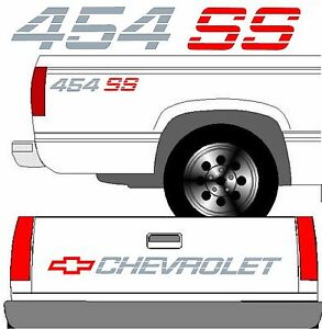 Chevrolet Ss Tailgate Truck Lettering 2 454 Ss Vehicle Vinyl Decals Full Set