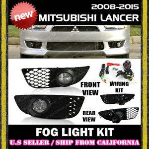 07 15 Mitsubishi Lancer Fog Lights Driving Lamp Kit W Switch Wiring clear