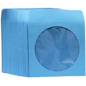 200 Premium Blue Color Paper Sleeve Window Flap Cd Dvd 100p free Priority Mail