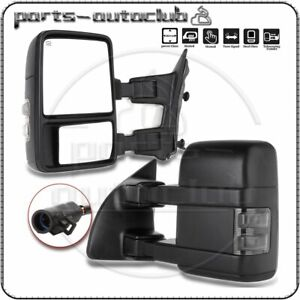 For 99 07 Ford F250 Super Duty Tow Mirror Power Heated Smoke Turn Signal Light