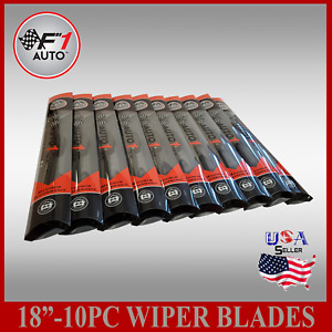 case Of 10 18 Front rear Premium Jhook Bracketless Windshield Wiper Blades