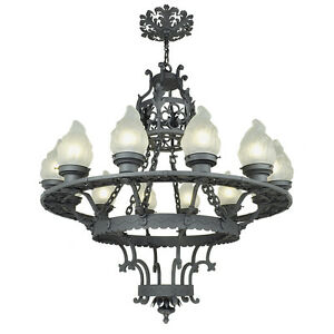 Large 12 Light Chandelier Antique Cast Wrought Iron Ceiling Fixture Ant 711