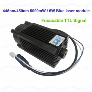 Focusable 445nm 450nm 5000mw 5w Blue Laser Module Ttl 12v Diy Cnc Engraving