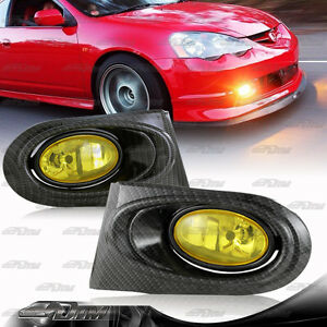 Carbon Fiber Style Paint Yellow Fog Light Lamps Pair Kit For 2002 2004 Acura Rsx